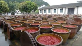 Chili kumberland w dużym słoju z słój pokrywą w chili kumberlandu fabryce, Zdjęcia Stock