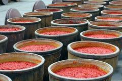 Chili kumberland w dużym słoju z słój pokrywą w chili kumberlandu fabryce, Zdjęcia Royalty Free