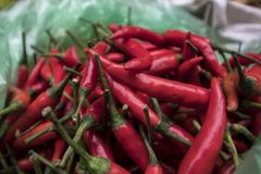Chili at Lao Cai Market, Vietnam stock photo