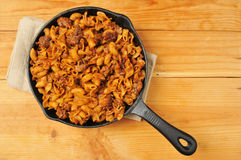Chili mac in a cast iron skillet Stock Photo