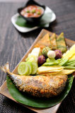 Chili mackerel, vegetable and sauce Royalty Free Stock Image