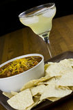 Chili, Margarita, and Chips. A bowl of chili, with a side of tortilla chips and a margarita Royalty Free Stock Image