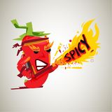 Chili mascot with fire gun. character design of hot and spicy -. Illustration Royalty Free Stock Photos