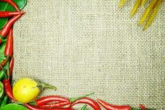 Chili med det ljust rödbrun kaffirlimefruktbladet med den thai löken på säckvävbakgrund Arkivfoton