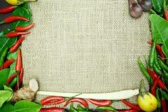 Chili med det ljust rödbrun kaffirlimefruktbladet med den thai löken på säckvävbakgrund Royaltyfri Foto