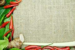 Chili med det ljust rödbrun kaffirlimefruktbladet med den thai löken på säckvävbakgrund Arkivfoto