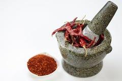 Chili med mortel Royaltyfri Fotografi
