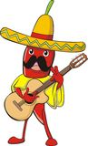 Chili in Mexican Costume Royalty Free Stock Image
