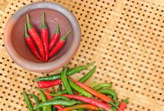 Chili in mortar on wooden textured Stock Image