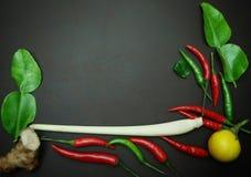 Chili och kaffiren kalkar bladet och löken och lemongrass på svart bakgrund Arkivbild