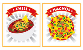 Chili- och nachosillustration stock illustrationer
