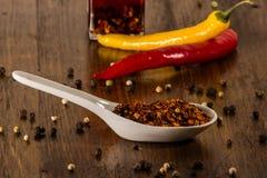 Chili och peppar i skal Fotografering för Bildbyråer