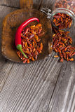 Chili on an old wooden Scoop Royalty Free Stock Photo