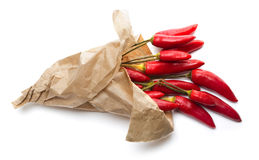 Chili in paper bags. Isolated Royalty Free Stock Images
