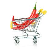 Chili papper in the shopping cart Stock Photography