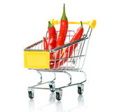 Chili papper in the shopping cart Stock Images