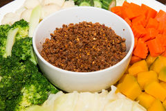 Chili past with mixed boil vegetable. A Chili past with mixed boil vegetable stock photos