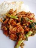 Chili Paste épicé thaïlandais a fait sauter à feu vif le brocoli avec le poulet et l'oeuf au plat et a cuit le riz à la vapeur Images stock