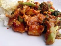 Chili Paste épicé thaïlandais a fait sauter à feu vif le brocoli avec le poulet et l'oeuf au plat et a cuit le riz à la vapeur Image libre de droits