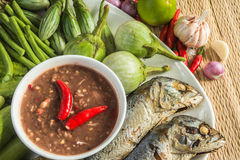 Chili Paste And Egg With Fried Mackerel, Vegetable Thai Food Stock Photo