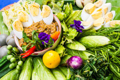 Chili paste and fresh vegetables Stock Photos