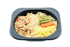 Chili paste with pork and fried rice, an innovative instant meal for a hectic life. Chili paste with pork and fried rice, an innovative instant meal for a Stock Photo