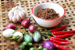 Chili paste with vegetable. Thai cuisine nam prik or chili paste mixes with fish serves with various vegetables Stock Images