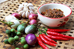 Chili paste with vegetable. Thai cuisine nam prik or chili paste mixes with fish serves with various vegetables Royalty Free Stock Photo