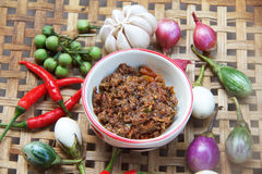 Chili paste with vegetable. Thai cuisine nam prik or chili paste mixes with fish serves with various vegetables Stock Photography
