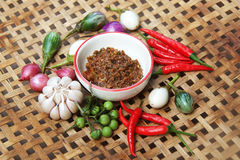 Chili paste with vegetable. Thai cuisine nam prik or chili paste mixes with fish serves with various vegetables Royalty Free Stock Photography