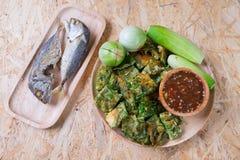 Chili pasty mieszanki z ryba słuzyć z smażącą makrelą Fotografia Royalty Free