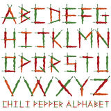 Chili pepper alphabet Stock Images