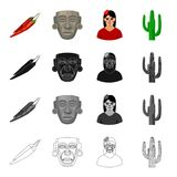 Chili pepper, ancient mask, Mexican girl, cactus. Country Mexico set collection icons in cartoon black monochrome Royalty Free Stock Photos