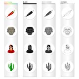 Chili pepper, ancient mask, Mexican girl, cactus. Country Mexico set collection icons in cartoon black monochrome Royalty Free Stock Photo