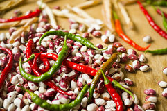 Chili pepper and beans Stock Image