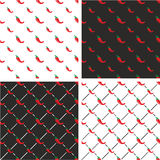Chili Pepper Big & Small Seamless Pattern Color Set Stock Photos
