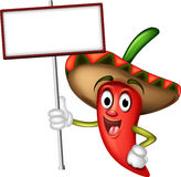 Chili pepper with blank board Royalty Free Stock Photography