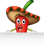 Chili pepper with blank sign Royalty Free Stock Photos