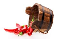 Chili pepper bucket Stock Photos