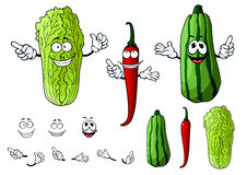 Chili pepper, cabbage and zucchini vegetables Stock Image