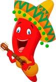 Chili Pepper Cartoon Character rosso illustrazione vettoriale
