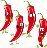 Chili pepper cartoon  isolated on white Stock Images