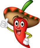 Chili pepper cartoon thumbs up vector illustration