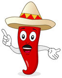 Chili Pepper Character with Mexican Hat Stock Photography