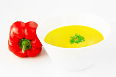 Chili pepper cream soup with parsley Royalty Free Stock Image