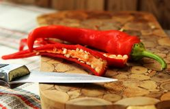 Chili pepper, cut in half Royalty Free Stock Image