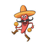 Chili Pepper Dancing with Maracas. Vector illustration of Chili Pepper Dancing with Maracas Stock Images