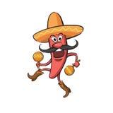 Chili Pepper Dancing met Maracas Stock Afbeeldingen