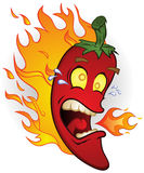 Chili Pepper On Fire Stock Photos