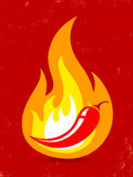Chili pepper in fire. Hot chili pepper in fire Royalty Free Stock Image